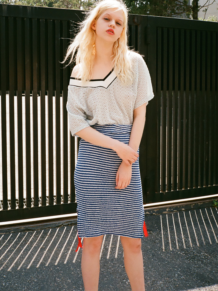 HIDEBACK STRIPE SKIRT