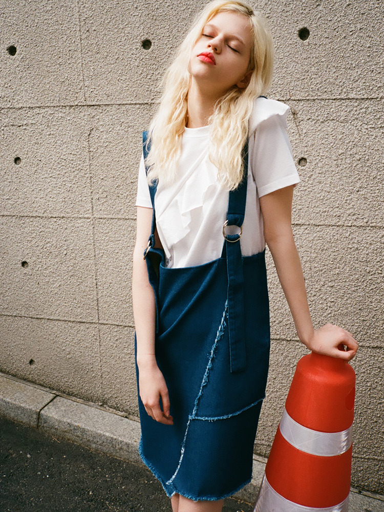 NEW-IN DENIM OVERALL SKIRT