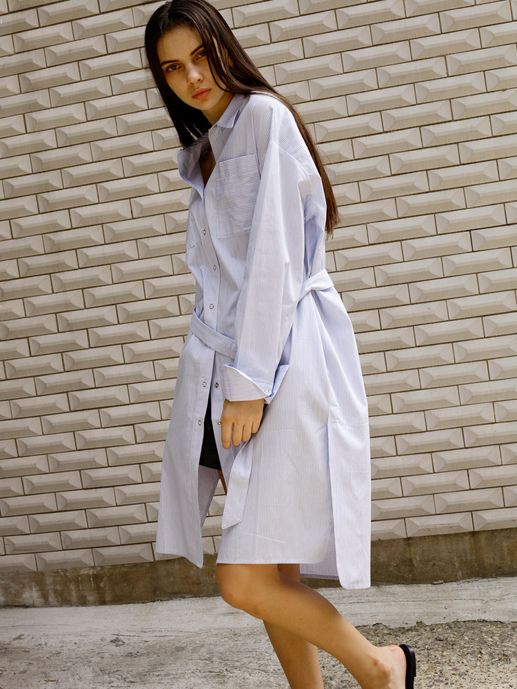 LADY STRIPE SHIRT DRESS