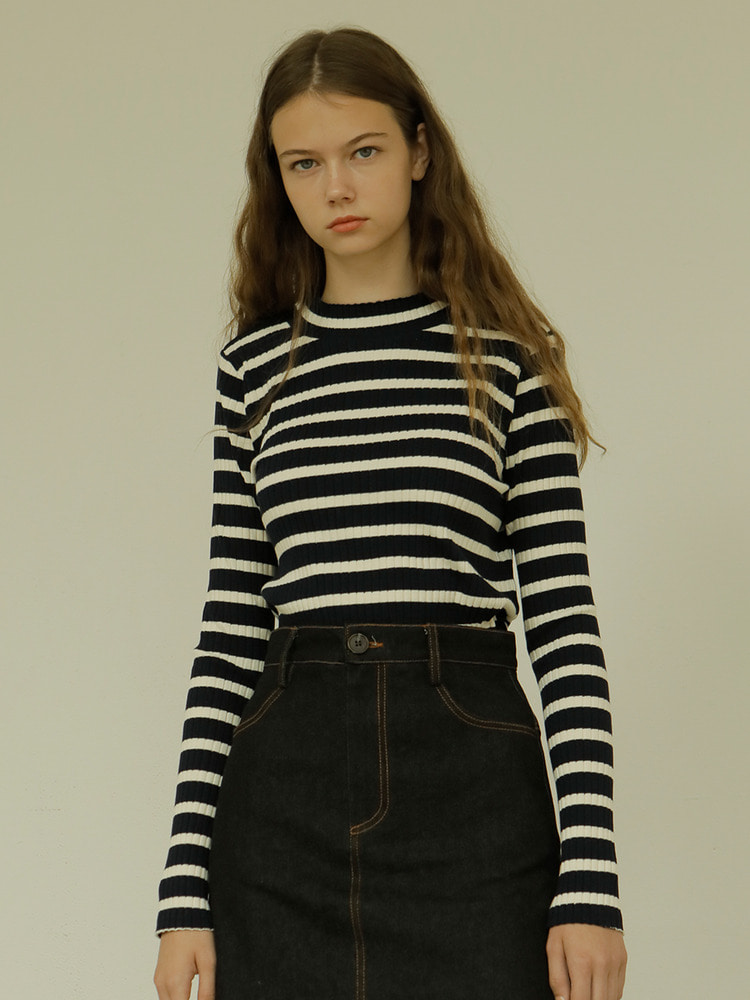 SEASON STRIPE TEE_navy