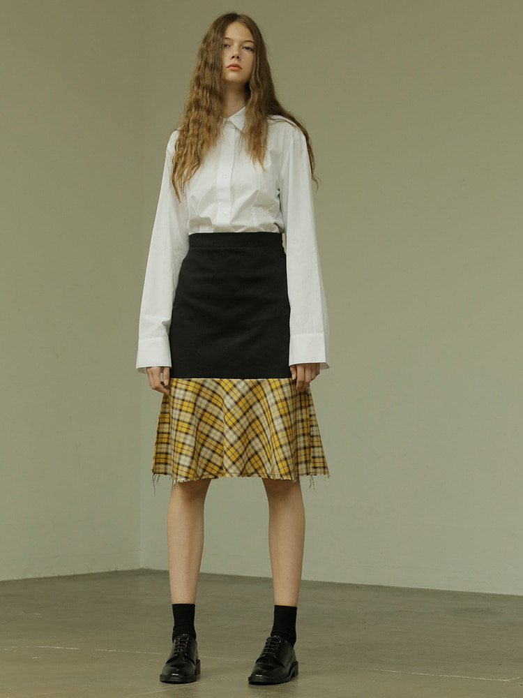 KAREN CHECK SKIRT_black