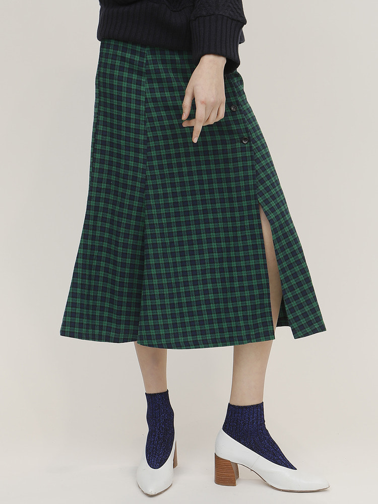 FEW CHECK SKIRT_GREEN