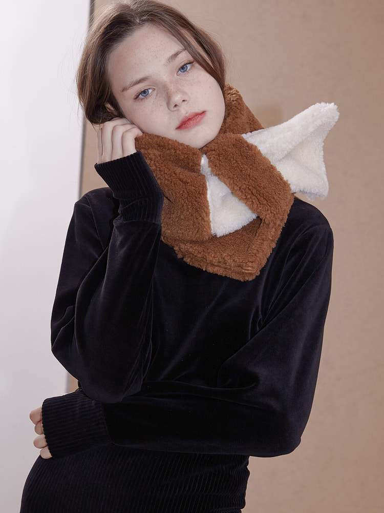voice fake fur muffler_brown