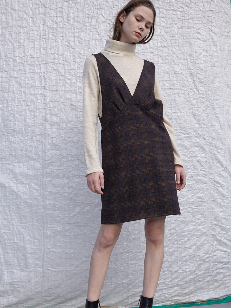 EDITION CHECK DRESS_BROWN