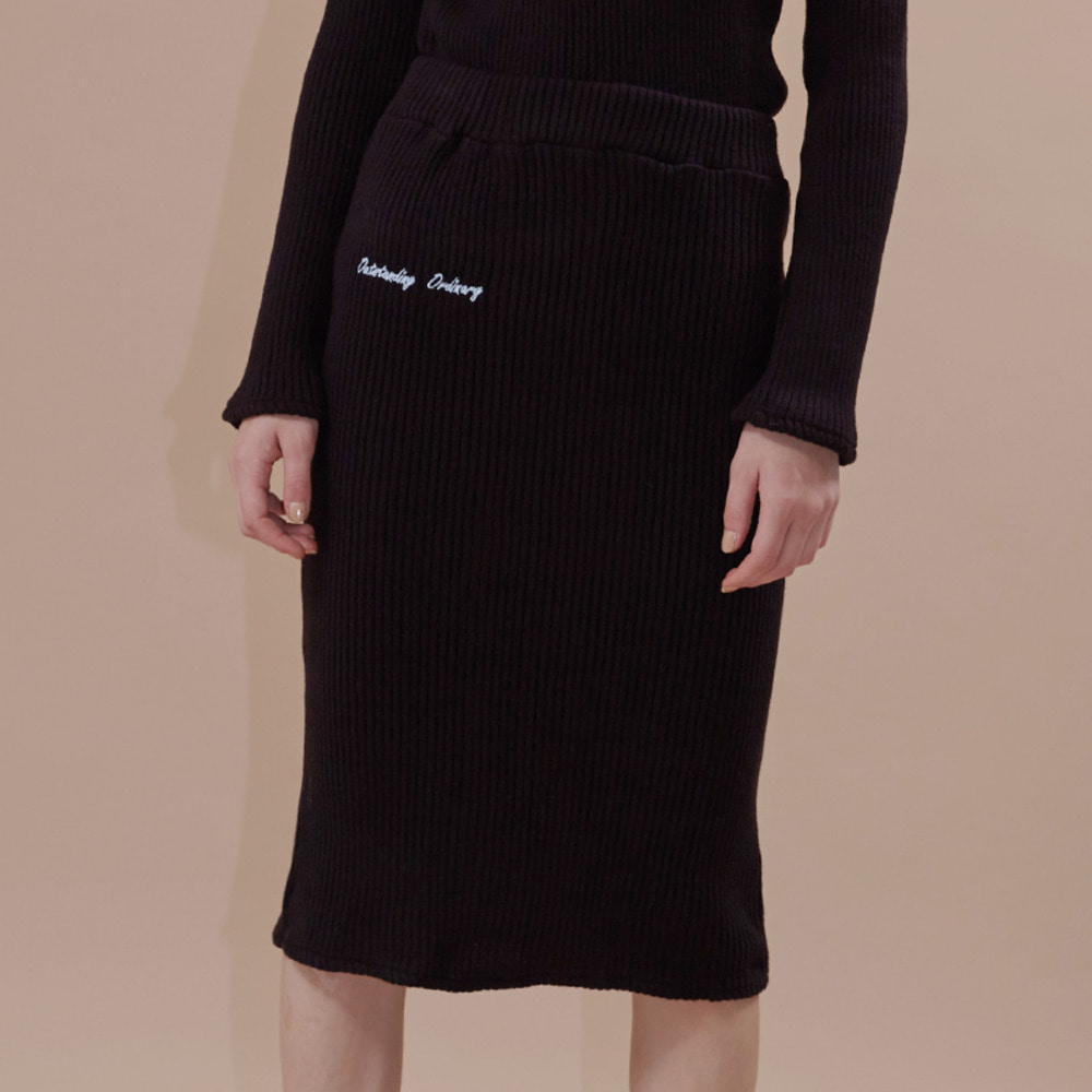 wave golgi midi skirt_black