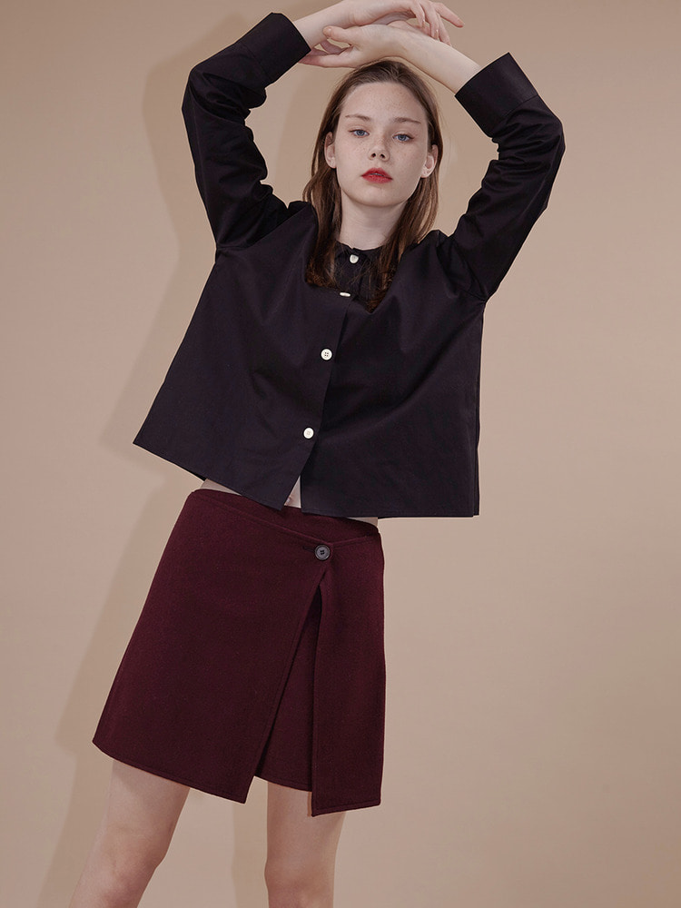 PREJUDICE WRAP SKIRT_wine
