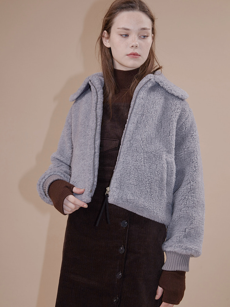 HELSINKI FAKE FUR JACKET_grey