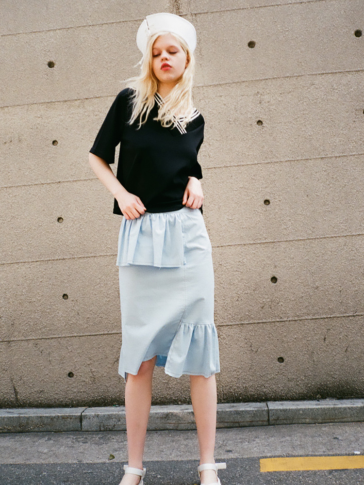 LIZ FRILLED MIDI SKIRT