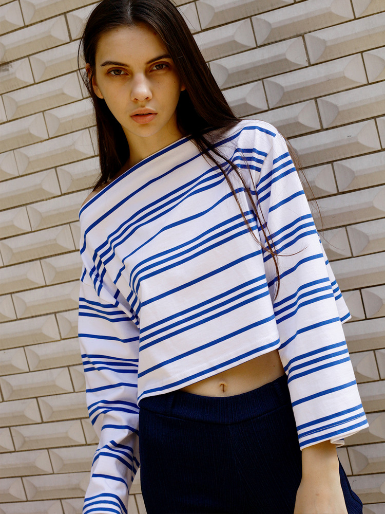 SHORE BOAT-NECK CROPPED TEE