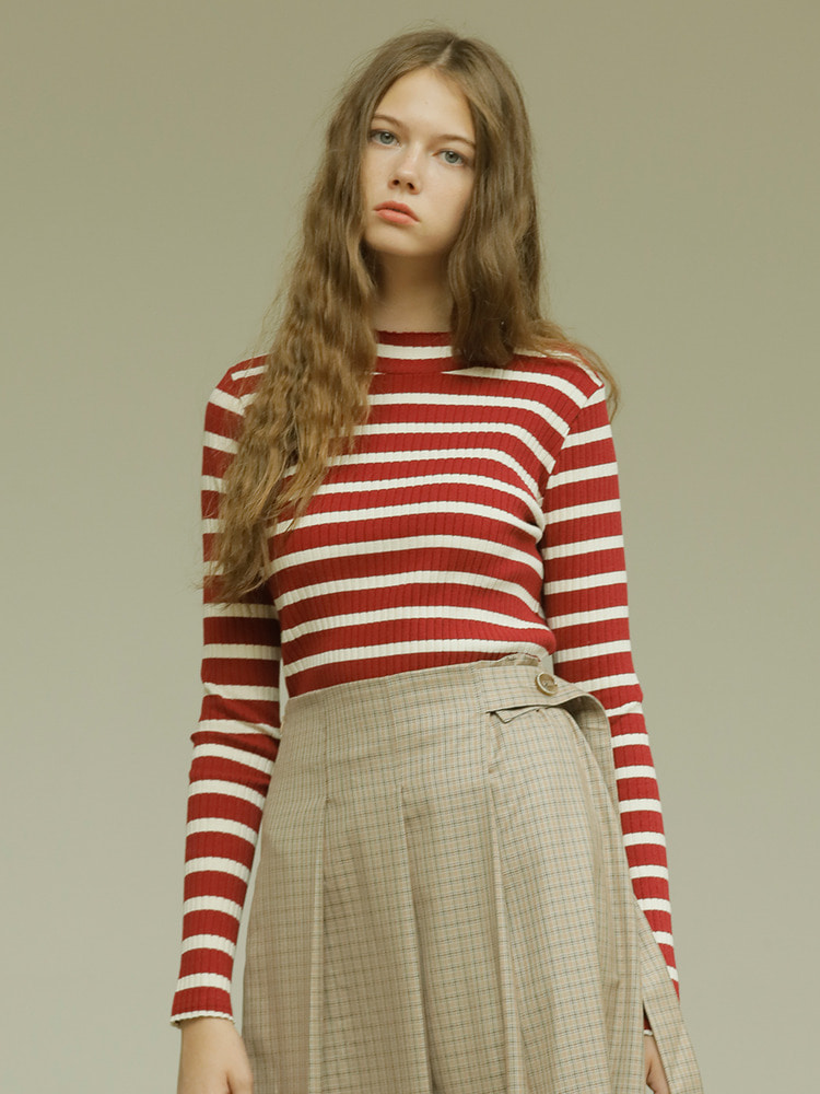 SEASON STRIPE TEE_wine