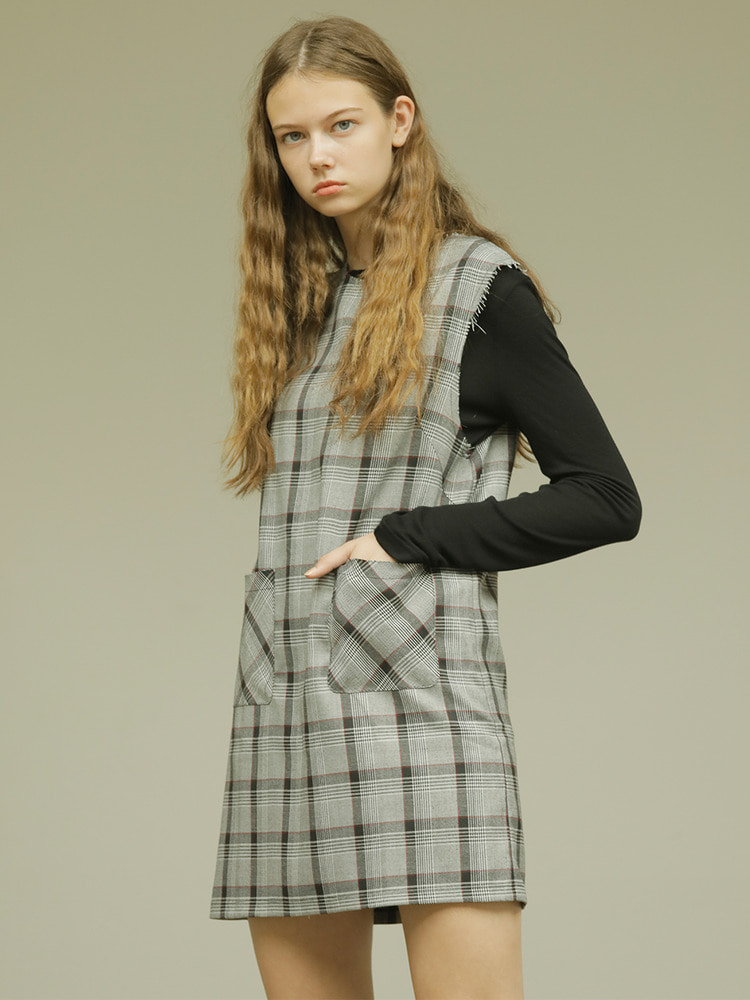 TWIST DRESS_grey check
