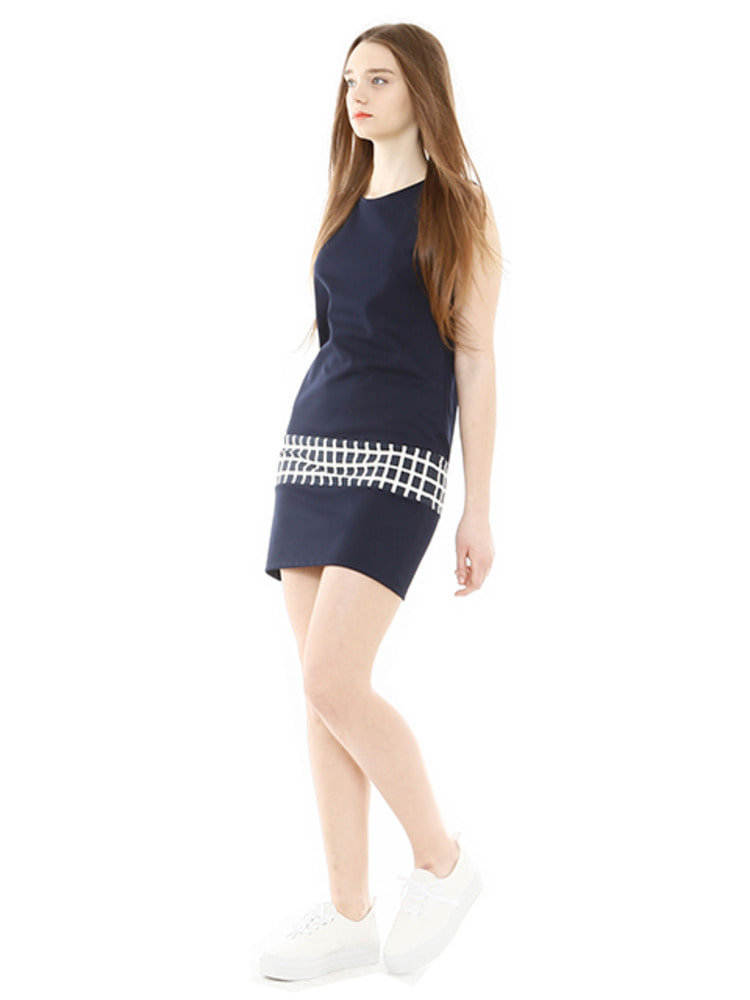 CHESS DRESS_NAVY