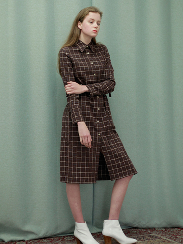 WHISTLE SHIRT DRESS_BROWN