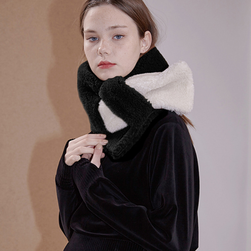 voice fake fur muffler_black