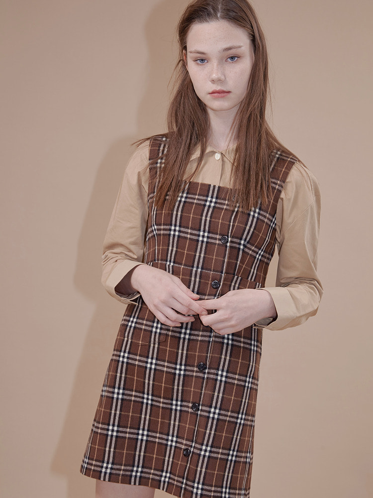 NOHO CHECK DRESS_brown