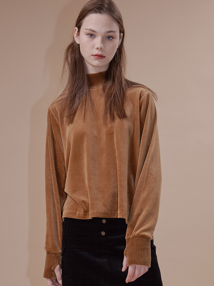 EACH VELVET TEE_brown