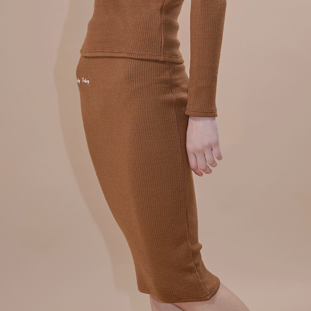 wave golgi midi skirt_brown
