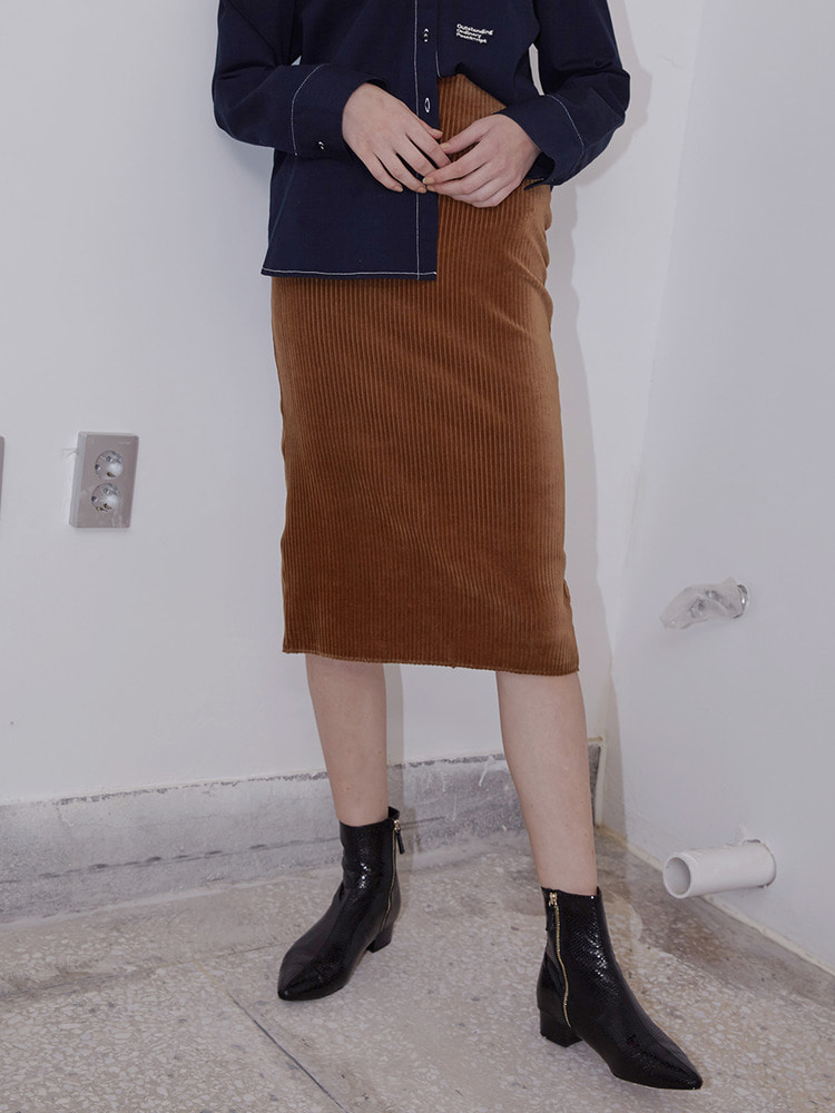 ESSAY VELVET MIDI SKIRT_brown
