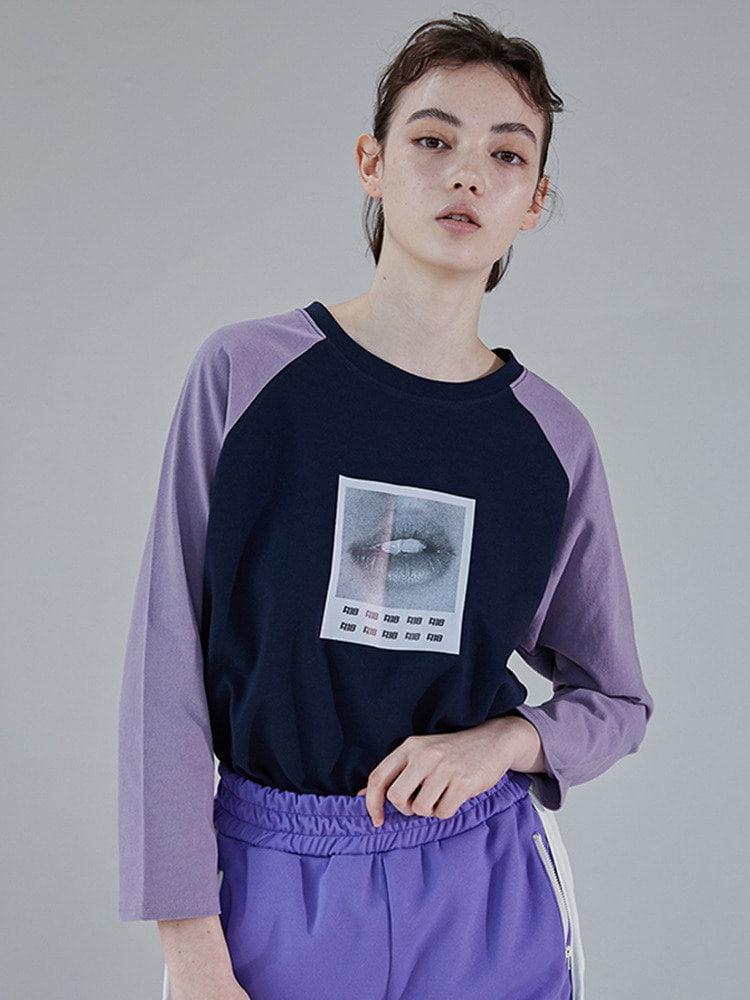 LIP RAGLAN TEE_purple