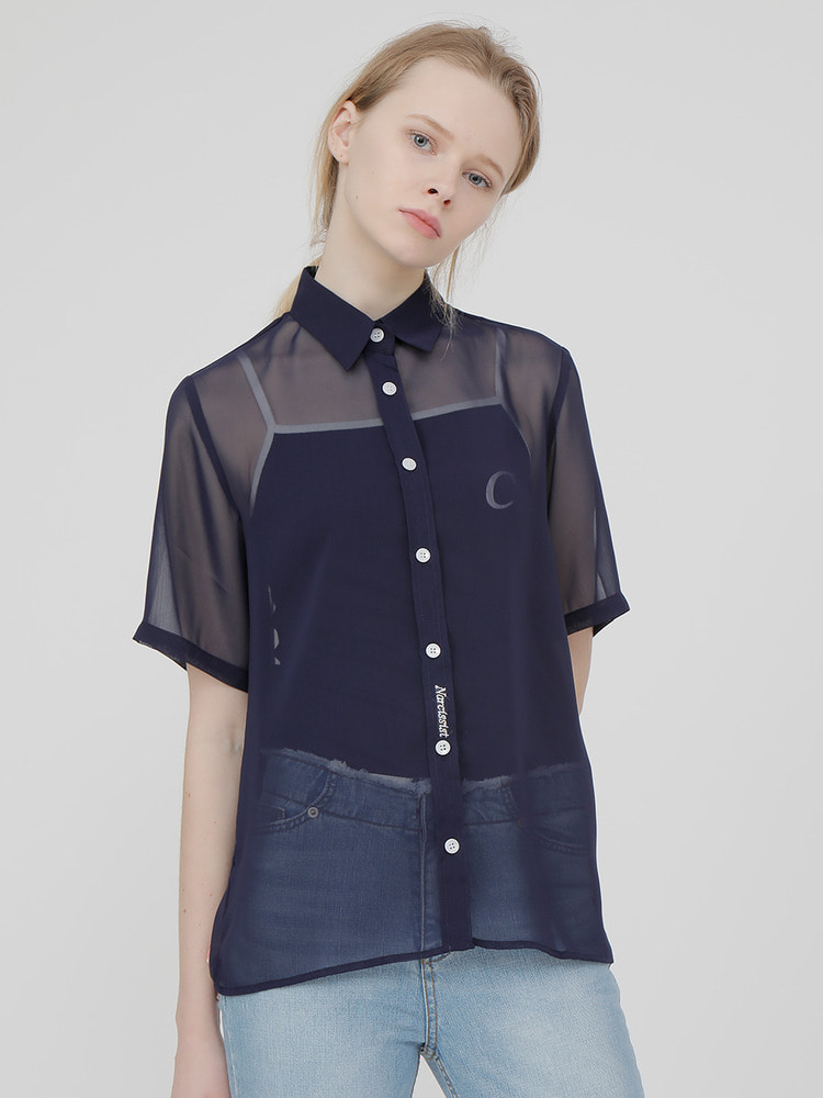 TRIGGER SHEER SHIRT_navy